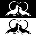 Monochrome silhouette of two doves and a heart vector art illustration Stock Photography