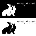 Monochrome silhouette of two easter bunny rabbits design uncolored card vector art illustration Stock Photography