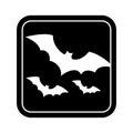 Monochrome square silhouette with bats