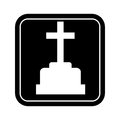 Monochrome square silhouette with sepulture and cross