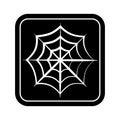 Monochrome square silhouette with spiderweb