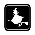 Monochrome square silhouette with witch