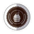 monochrome sticker with cupcake with lemon slice in round frame Royalty Free Stock Photo