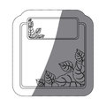 monochrome sticker with set of frames leaves with middle shadow Royalty Free Stock Photo