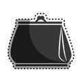 Monochrome sticker woman purse icon design
