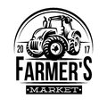 Monochrome vector illustration of a farmer market