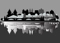 Monochrome vector old european city is reflected for your design in the water Stock Image