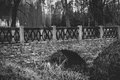 Monochrome view of old stone bridge over river at park Royalty Free Stock Photo
