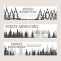 Monochromic horizontal banners with pine forest and text adventure vector illustration Stock Photo