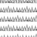 Monochromic seamless pattern with pine forest hand drawn vector illustration Royalty Free Stock Images