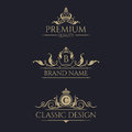 Monogram with crown. Premium borders set.