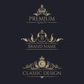Monogram with crown. Premium borders set. Royalty Free Stock Photo