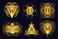 Monogram design elements graceful template calligraphic elegant line art logo design gold emblem business sign for royalty b Stock Photos
