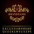 Monogram design elements, graceful template. Elegant line art logo design. Business gold emblem letter B for Restaurant, Royalty, Royalty Free Stock Photo