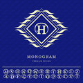 Monogram design elements, graceful template. Elegant line art logo design. Letter emblem H. Retro Vintage Insignia or Logotype. Bu