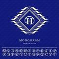 Monogram design elements, graceful template. Elegant line art logo design. Letter emblem H. Retro Vintage Insignia or Logotype. Bu