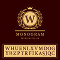Monogram design elements, graceful template. Elegant line art logo design. Letter emblem W. Retro Vintage Insignia