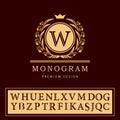 Monogram design elements, graceful template. Elegant line art logo design. Letter emblem W. Retro Vintage Insignia