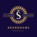 Monogram design elements, graceful template. Elegant line art logo design. Letter S. Retro Vintage Insignia or Logotype. Business