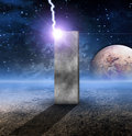 Monolith on Lifeless Planet Royalty Free Stock Images