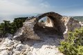 Monolithos castle ancient ruins in rhodes greece view of Royalty Free Stock Photo