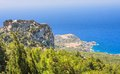 Monolithos castle rhodes island greece view of Royalty Free Stock Photography