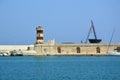 Monopoli turist port with lighthouse, Apulia, Italy Royalty Free Stock Photo