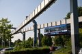 Monorail in dortmund the h bahn hängebahn or hanging railway Stock Photo