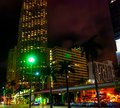 Monorail track and skyscrapers in downtown Miami at night Royalty Free Stock Photo