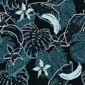 Monotone blue and dark Summer seamless pattern with tropical lea