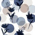 Monotone in blue Vector botanic silhouette floral seamless pattern on modern colorful stripe polka dot, delicate flower