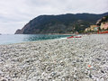 Monrerosso al mare cinque terre rock beach at italy Royalty Free Stock Photos
