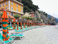 Monrerosso al mare cinque terre rock beach at italy Royalty Free Stock Photography