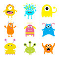 Monster big set. Cute cartoon scary character. Baby collection. White background. Isolated. Happy Halloween card. Flat design. Royalty Free Stock Photo