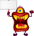 Monster with blank sign Royalty Free Stock Images