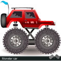 Monster car vector illustration of a red Stock Photography