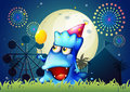 A monster at the carnival with a yellow balloon illustration of Royalty Free Stock Images