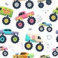 Monster cars seamless pattern. Kid trucks with big wheel. Vector endless background Royalty Free Stock Photo