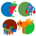 Monster character vector funny design element humour emoticon fantasy monsters unique expression crazy animals sticker