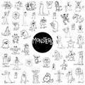 Monster characters big set Royalty Free Stock Photo