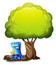 A monster crying under the tree illustration of on white background Royalty Free Stock Image