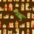 Monster destroys city street and house broken godzilla in seam seamless pattern scary dinosaur destroyed urban structure scary big Royalty Free Stock Photos