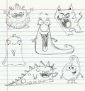 Monster doodles set 1 Royalty Free Stock Images