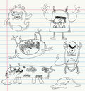 Monster doodles set 2 Stock Image