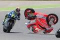 Monster energy grand prix of catalunya motogp drivers jordi torres and dominique aegerter moto crash moto barcelona spain june Royalty Free Stock Images
