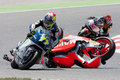 Monster energy grand prix of catalunya motogp drivers jordi torres and dominique aegerter moto crash moto barcelona spain june Royalty Free Stock Photo