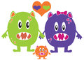 Monster Family Love Royalty Free Stock Photo
