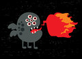 Monster with fire banner vector illustration Stock Photography