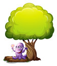 A monster with a flower standing under the big tree illustration of on white background Stock Photos
