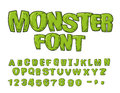 Monster font. Green scary letters. Vector alphabet. Live Abc Royalty Free Stock Photo